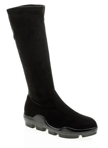 Bambi Süet Platform Çizme Siyah